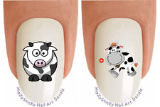 "Nail Decals #207 ANIMAL ""Cow 1 Cartoon"" Waterslide Nail Art Transfers Stickers"