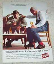 1967 ad page - Schlitz Beer men father son playing CHESS game PRINT ADVERT