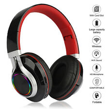 Bluetooth 5.0 Headset Wireless Earphone Over Ear LED Headphones With Mic Earbuds