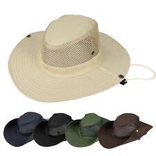 Outdoor Wide Brim Mesh Cowboy Bucket Hat Sun UV Protection Visor Folding Cap