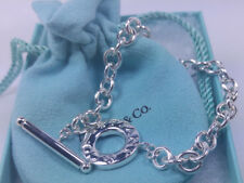 NEW Tiffany & Co. Round Link Chain Toggle Charm Bracelet Large 8 Inch Silver 925