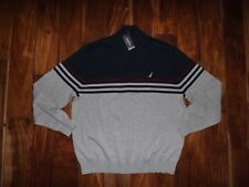 NWT Mens NAUTICA Gray Heather Navy Blue 1/4 Zip Collared Mock Sweater Sz L Large
