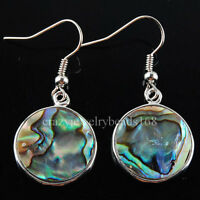 New Zealand Abalone Shell Round Beads Dangle Earrings Pair R031