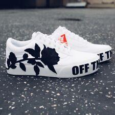 Handmade Floral-Vans - Custom Shoes White  - VanSlip-On With BOX