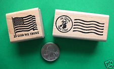 IN GOD WE TRUST Rubber Stamp Set, two wood mounted