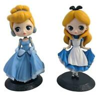 Disney Princess Q Posket Figures Set of 2 Cinderella Alice in Wonderland  (A)