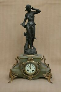 VERY LARGE ANTIQUE FIGURAL ART NOUVEAU FRENCH JAPY CLOCK FOR RESTORATION