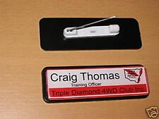 1 NAME BADGE work, club your name, logo free post 64x19 clever promotional item