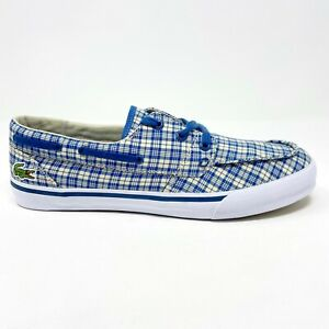 Lacoste Keel Canvas Dark Blue Natural White Loafer Boat Casual Shoes