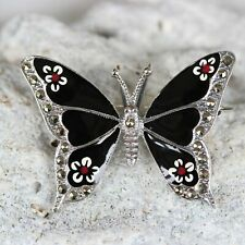 Sterling Silver 925 Marcasite & Enamel Butterfly Vintage Inspired Brooch Pin