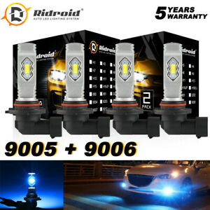 LED Combo 9005 9006 Headlight Ice Blue 8000K High Low Beam Bulbs Halogen Replace