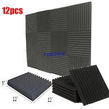 12Pcs 12''x12''x1'' Wedge Acoustic Studio Sponge Soundproofing Foam Wall Tiles