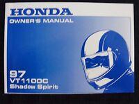ORIG 1997 HONDA 1100 VT1100C SHADOW SPIRIT MOTORCYCLE OPERATORS MANUAL VERY NICE