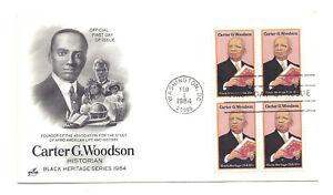 2073 Carter Woodson, Black Heritage 1984, ArtCraft, block of 4 FDC