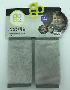 Go Goldbug Grey Reversible Strap Covers Car Seats Strollers Soft Comfy GO00151