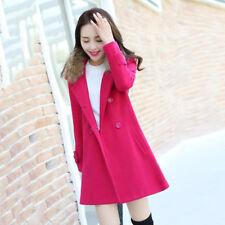 Women Winter Warm Trench Coat Parka Long Slim Outwear Jacket Double Breasted