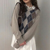 Women Knit Sweater  V Neck Long Sleeve Argyle Plaid Autumn Winter Pullovers Hot