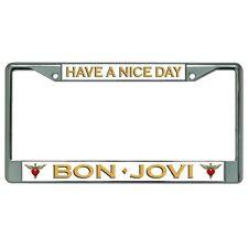 have nice day bon jovi music band logo chrome license plate frame made in usa