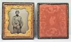 ANTIQUE Confederate Soldier DAGUERREOTYPE Tin Type Picture Ornate Full case M5