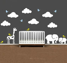 Jungle Theme Wall Decal Mural with Clouds and Animals for Nursery Room Decor