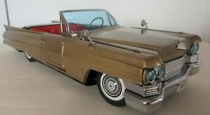 Rare 1960's Bandai Japanese Tinplate Golden Cadillac 2 Door Convertible Coupe