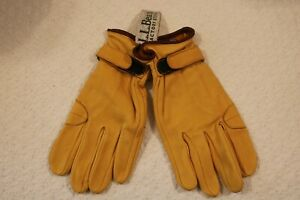 L.L. Bean Sure-Grip Leather Roper Gloves, Small with Wrist Closure, New