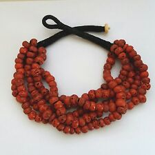 Vintage Big Chunky Red Dyed ? Coral ?  5 Strand Torsade Necklace