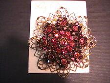Liz Palacios Red Swarovski Crystal Filigree Pin Brooch