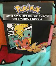 Pokemon Starters Super Plush Fleece Throw Blanket Charmander Bulbasaur Pikachu