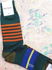 Paul Smith Mens English Socks Varied Stripes Green & Orange K390 One Size Cotton