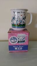 "Emson Inc. ""Welcome Friends"" Mug and coaster w/geese, blue bows, white fence"