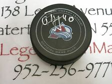 Alex Tanguay Colorado Avalanche Signed NHL Logo Puck LOM COA