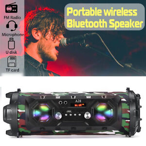 LED RGB High Bass Ultra Loud bluetooth Speakers Portable Wireless Outdoor Indoor