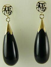 Black Onyx 8mm x 20mm Earrings 14k Yellow Gold