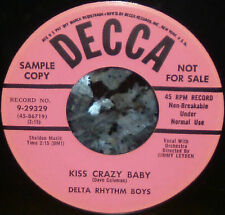 "*<* RARE 1954 ""KISS CRAZY BABY"": DELTA RHYTHM BOYS CLEAN M- GEM PROMO 45/SLEEVE!"