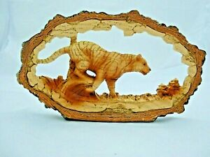 Wood Effect Tiger in an Oval Log Ornament Figurine Collectible