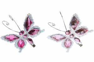 2 x Gisela Graham Pink Diamante Clip on Butterfly Christmas Tree Decorations 6cm