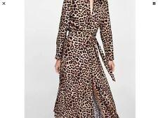 ZARA Leopard Animal Print Maxi Dress Long Sleeve Buttoned Belted Size M