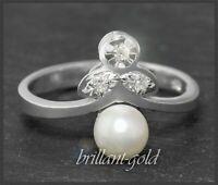 Diamant & Perlen Ring aus 585 Gold, Weißgold, 6,5mm weiße Perle
