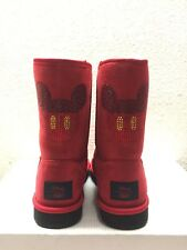 UGG DISNEY CLASSIC SHORT MICKEY SWAROVSKI CRYSTAL RED BOOT US 7 /EU 38 /UK 5.5