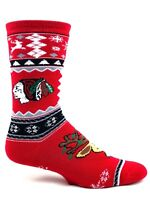 Chicago Blackhawks Hockey Ugly Christmas Sweater Reindeer Crew Sock Red