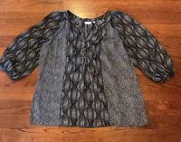 Kim Rogers Black White Circle 100% Polyester Shirt 3/4 Sleeve Women's Size Large