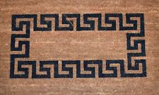 XL Top Black Greek Key Logo on Natural Coir Mat 84cm x 50cm x 25mm Carpet Rug