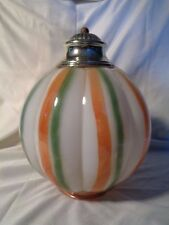 vintage GLASS GLOBE Light SHADE Porch HALLWAY Orange Green STRIPED pumpkin?
