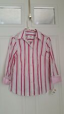 NEW! Talbots Woman SZ/M Stripe Button Up Stretch 3/4 Sleeve Shirt Top NWT/$58