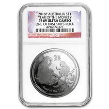 2016 Australia 1 oz Silver Lunar Monkey PF-69 NGC (1st of 500) - SKU #93934