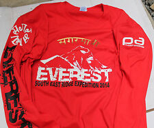 Mount Everest Red Long Sleeve Cotton T-Shirt - All Sizes Mens & Ladies