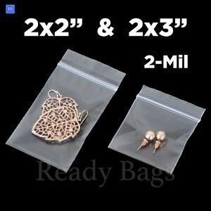 200 Pack 2 x 2 Thick Clear 2.4 Mil Small Zip Lock Seal Poly Bags Reclosable Ziplock Plastic Bag Jewelry Earrings Bead Pill Mini Zipper Bags