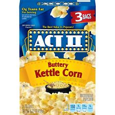 NEW SEALED ACT II BUTTERY KETTLE CORN 3 BAGS 8.25 OZ MICROWAVE POPCORN