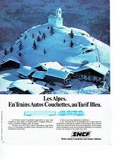 Publicité Advertising 058  1978   SNCF  train auto couchette Les Alpes tarif ble